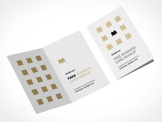 2 Panel Folded Business Card PSD Mockup
