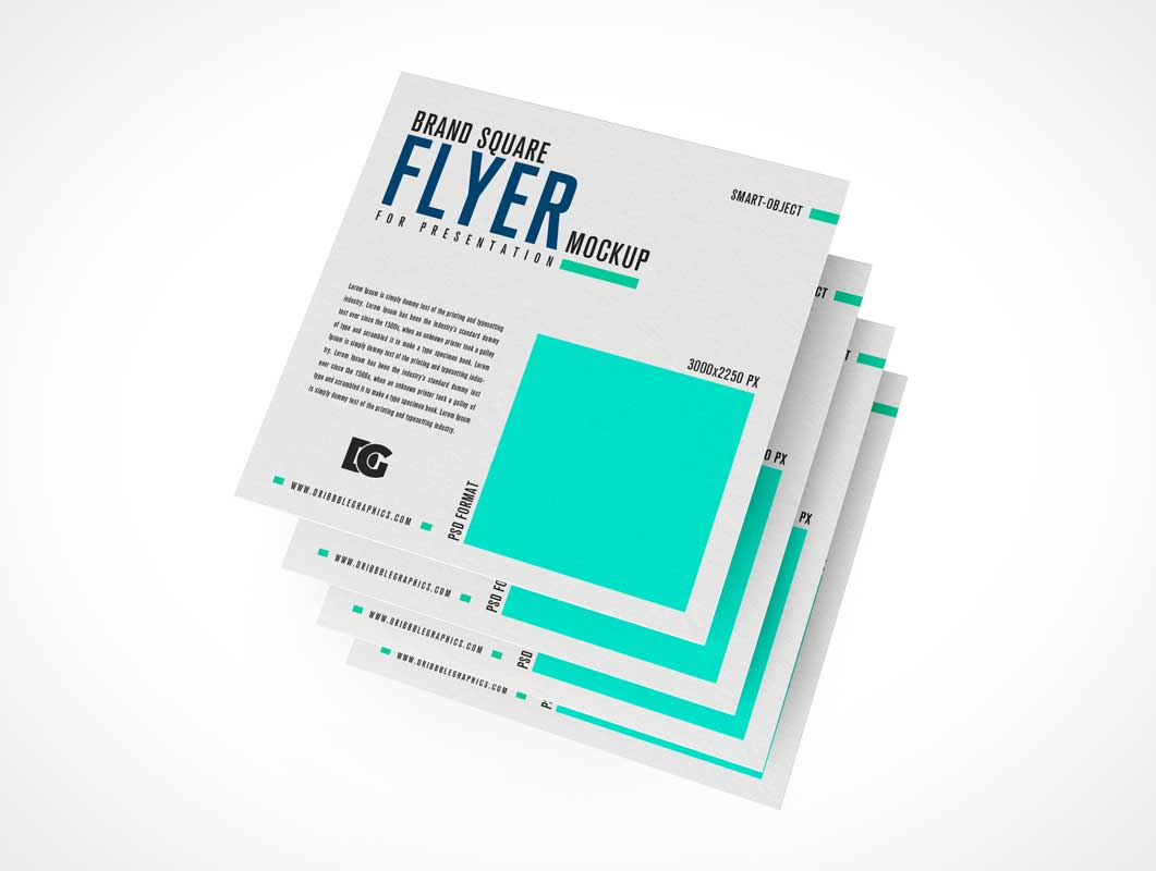 Batch of Square Leaflet Flyers PSD Mockup