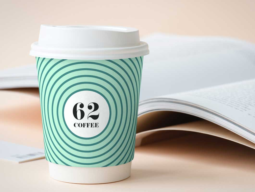 Branded Paper Coffee Cup & Plastic Sip Lid PSD Mockup