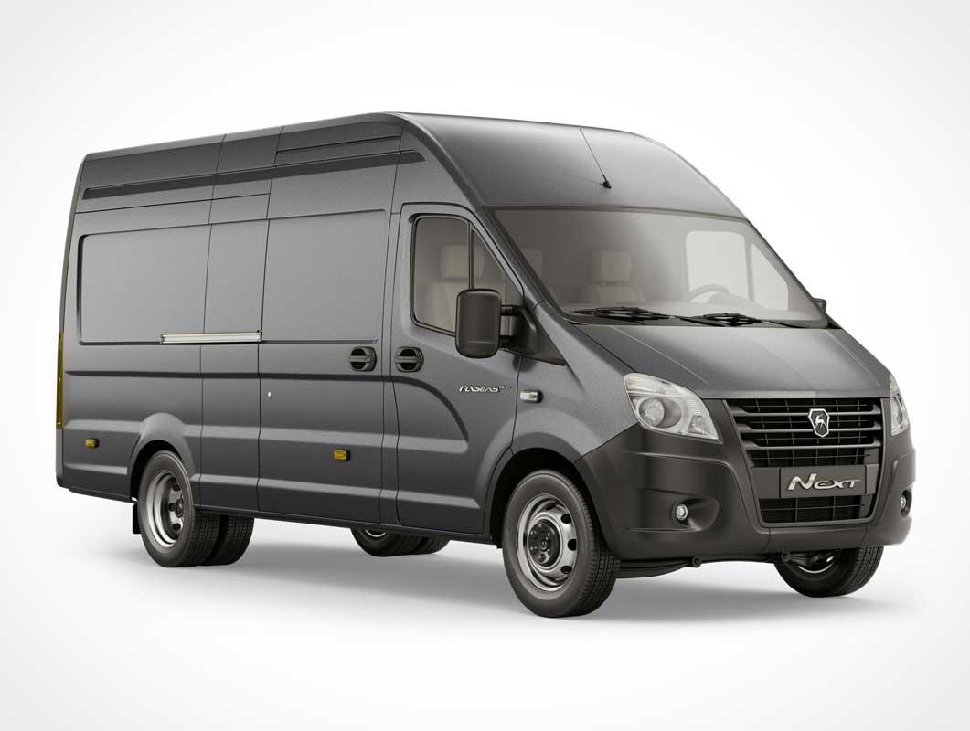 Gazelle Delivery & Pickup Transport Van PSD Mockup