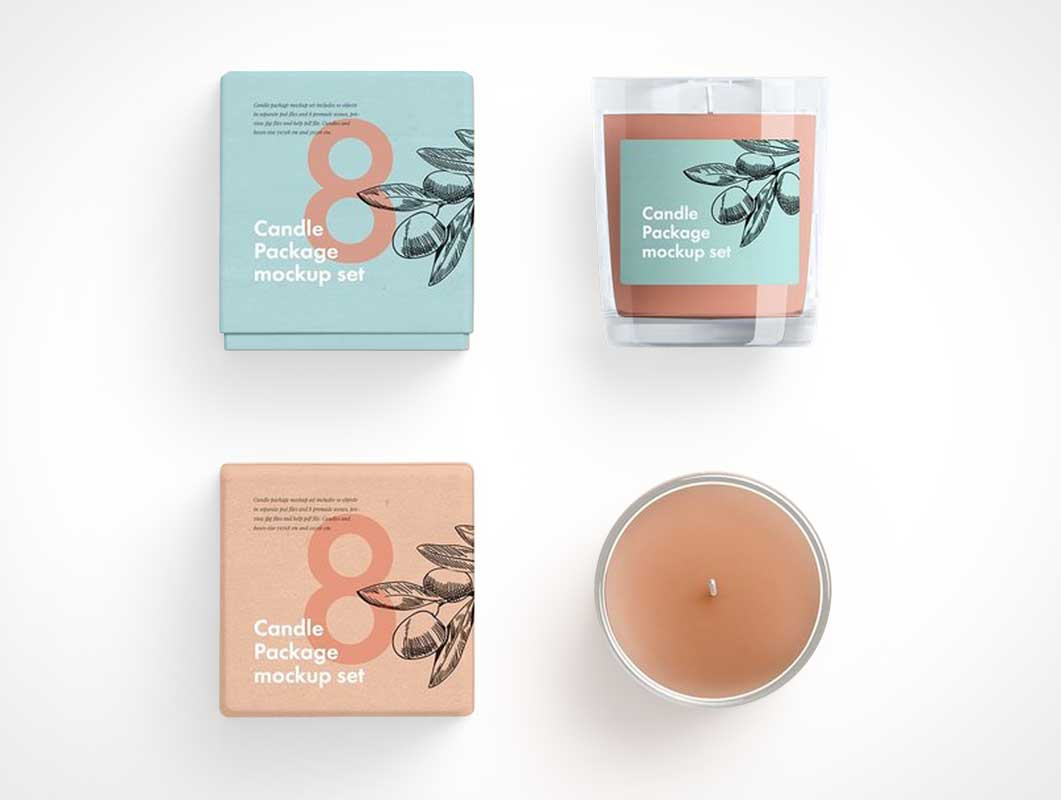 Glass Wax Candle Jar & Box Packaging PSD Mockup