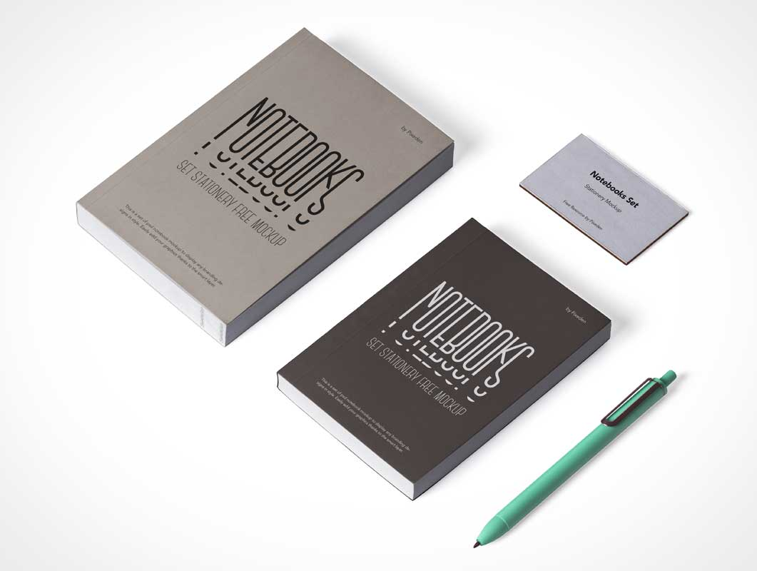 Glue Bound Designer's Notebook Covers PSD Mockups