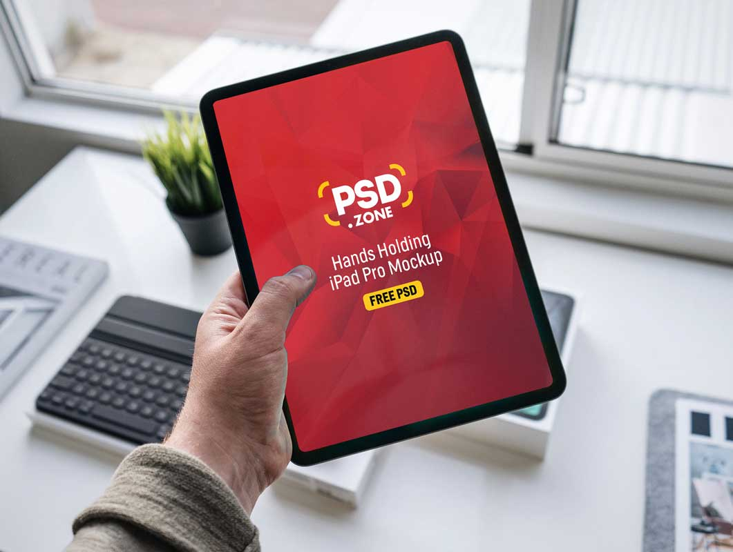Hand Held iPad Pro Mobile Tablet PSD Mockup