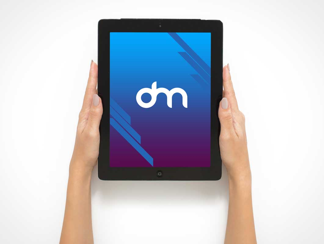 Hand Held iPad Tablet Front PSD Mockup