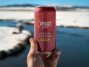 Hand Holding Pull Tab Soda Can PSD Mockup