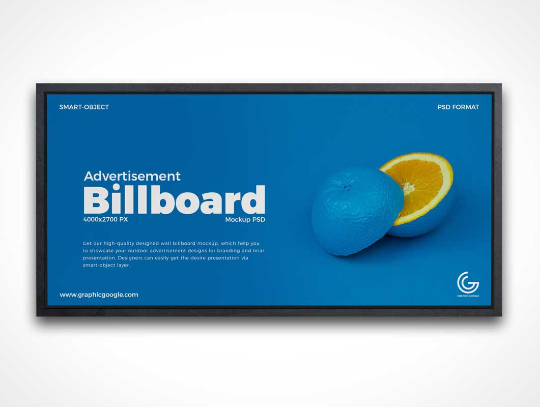Indoor Framed Billboard Advertising PSD Mockup