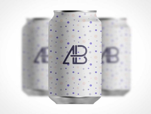 Isometric Soda Can Pattern PSD Mockup