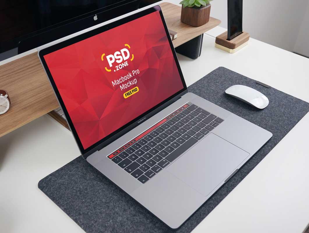 MacBook Pro Laptop Computer & Magic Mouse PSD Mockup