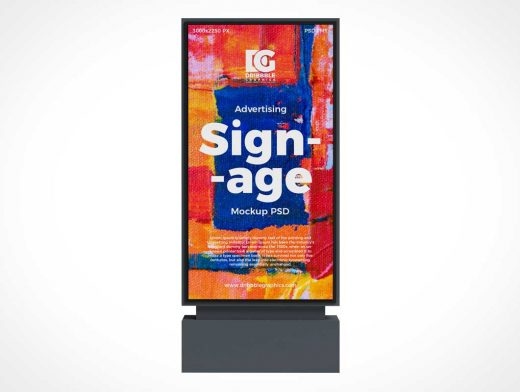 Mounted Vertical Billboard Stand PSD Mockup