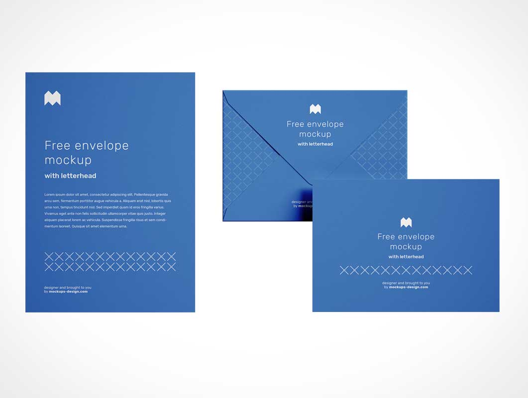 Stationery Envelope & Letterhead Paper PSD Mockup
