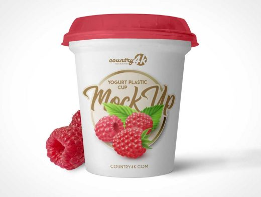 Yogurt Plastic Container Cup & Lid PSD Mockup