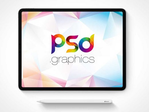 iPad Pro Mobile Tablet Display & Stylus Pen PSD Mockup