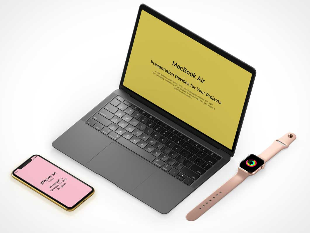 iWatch, iPhone & MacBook Mobile Office PSD Mockup