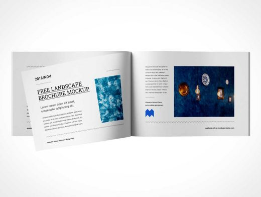 7 Landscape Brochure Booklets Front & Back Covers PSD Mockup