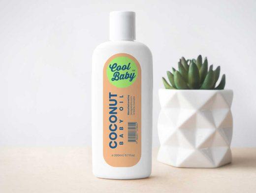 Boston Round Baby Bottle Shampoo PSD Mockup