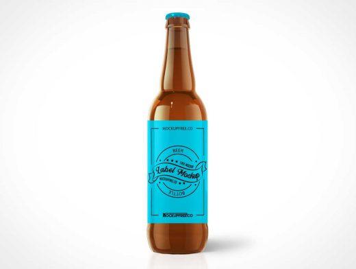 Brown Glass Long Neck Beer Bottle PSD Mockup