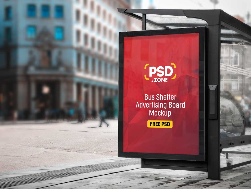 Bus Stop Shelter & Poster Advertising PSD Mockup