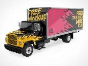 Cargo Delivery Transport Truck PSD Mockup
