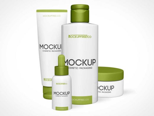 Cosmetic Cream Jar, Bottle Lotion, Eye Dropper & Tube Paste PSD Mockup