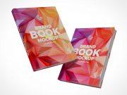 Floating Hardcover Bound Books PSD Mockup
