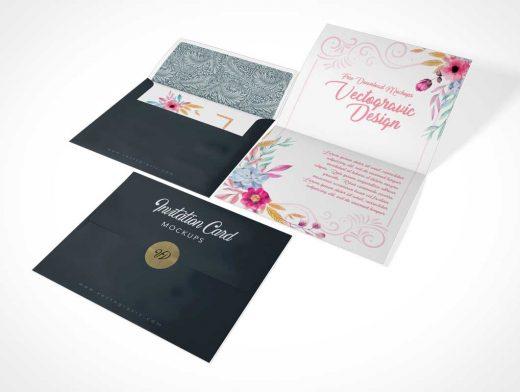Folded A2 Invitation Card & Envelope PSD Mockup