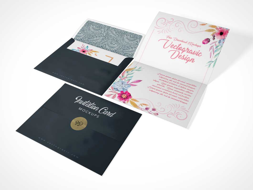 Folded A2 Invitation Card & Envelope PSD Mockup