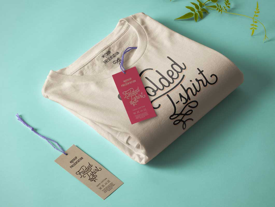 Folded Round Neck Cotton T-Shirt PSD Mockup