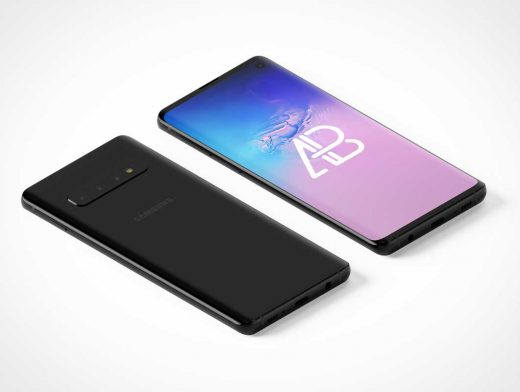 Isometric Samsung Galaxy S10 Front Screen & Back Cameras PSD Mockup