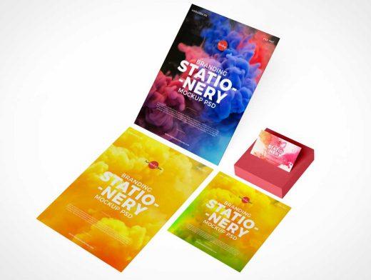 Letterhead Sheets, Business Card & Postit Pad PSD Mockup ...