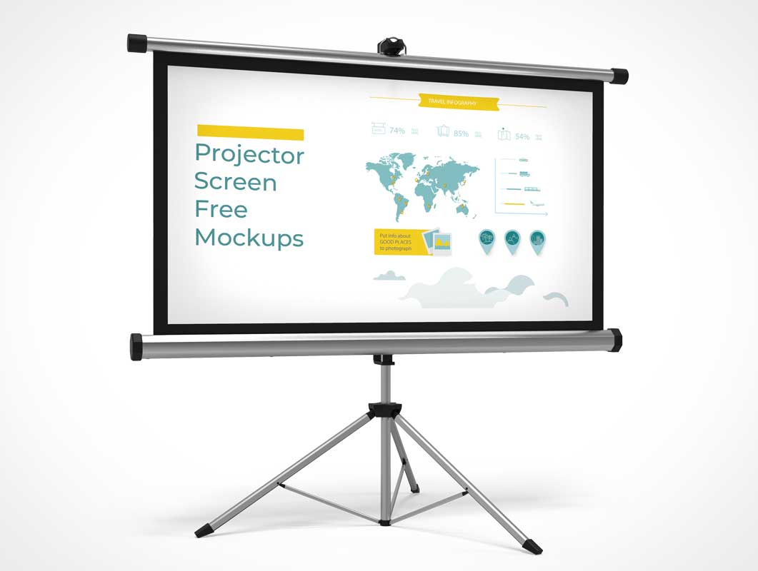 Office Rollup Projector Screen & Stand PSD Mockup