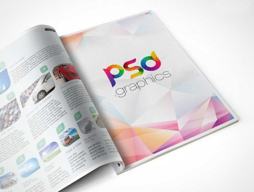 Open Softcover Magazine Publication PSD Mockup