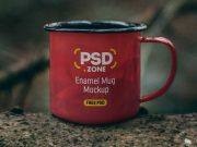 Outdoor Enamel Tin Camping Mug PSD Mockup