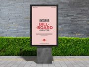 Outdoor Framed Billboard Advertising Poster PSD Mockup