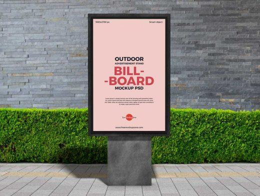 Outdoor Framed Billboard Advertising Poster PSD Mockup
