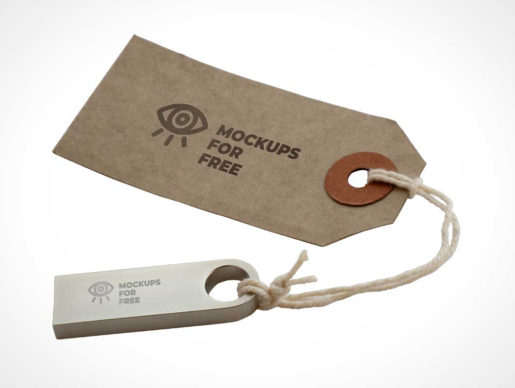 Product Tag Label & USB Stick PSD Mockup