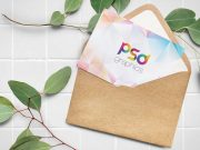 Recycled Paper Envelope & Greeting Card PSD Mockup