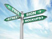Street Sign Direction Post PSD Mockup