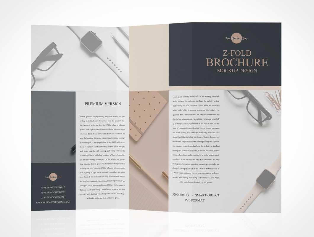 Z-Fold Brochure PSD Mockup