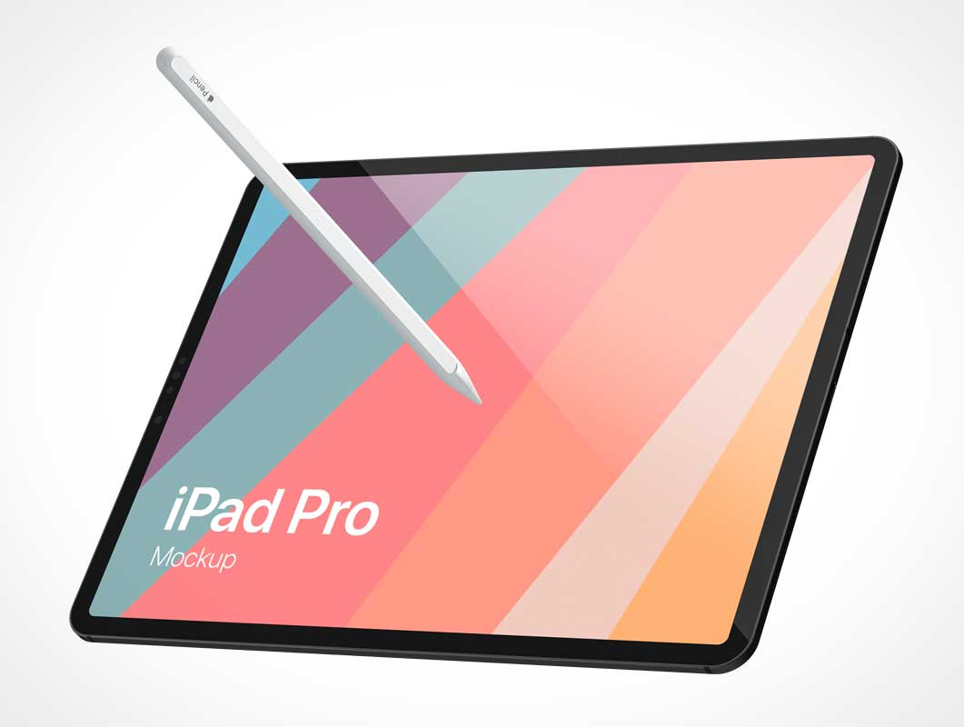 iPad Pro Screen & Apple Pencil Stylus PSD Mockup