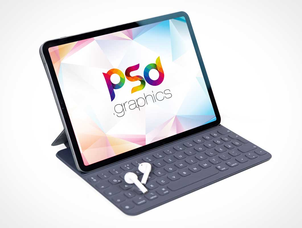 iPad Pro Tablet & Keyboard Cover PSD Mockup