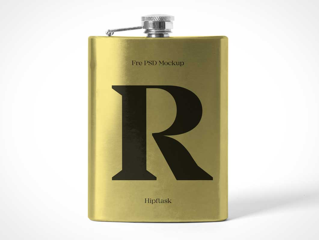 6oz Stainless Steel Hip Flask PSD Mockup