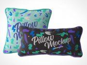 Bedroom Throw Pillow Pair PSD Mockup