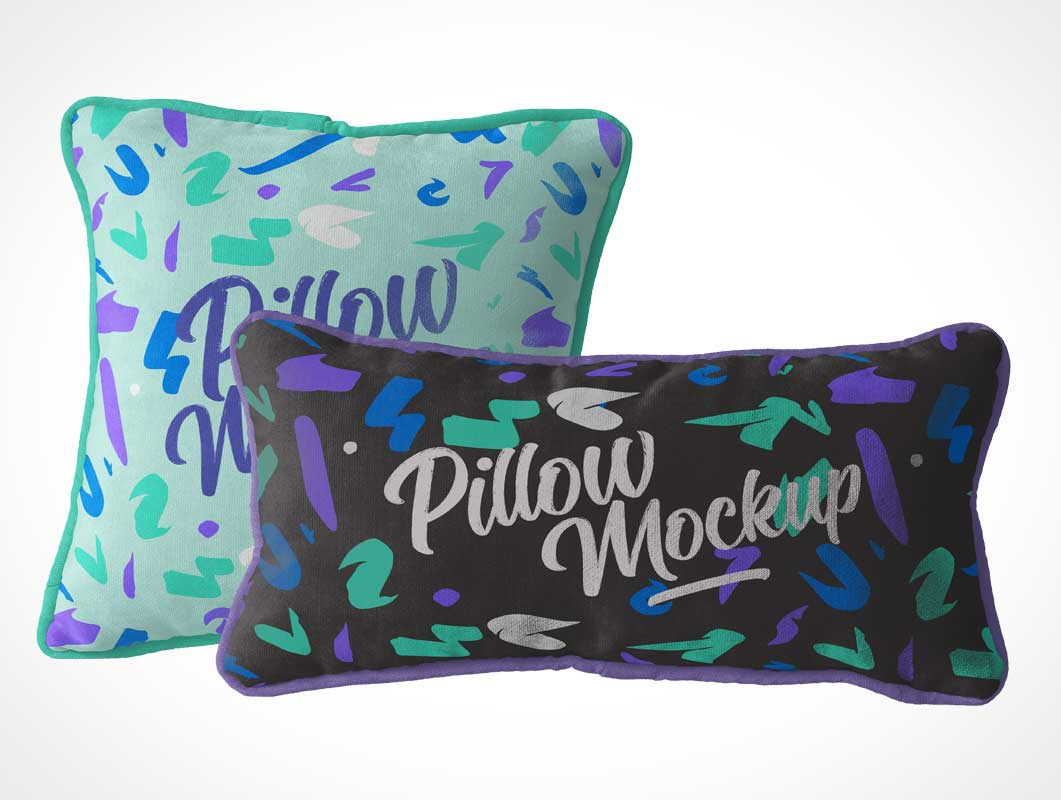 Bedroom Throw Pillow Pair PSD Mockup