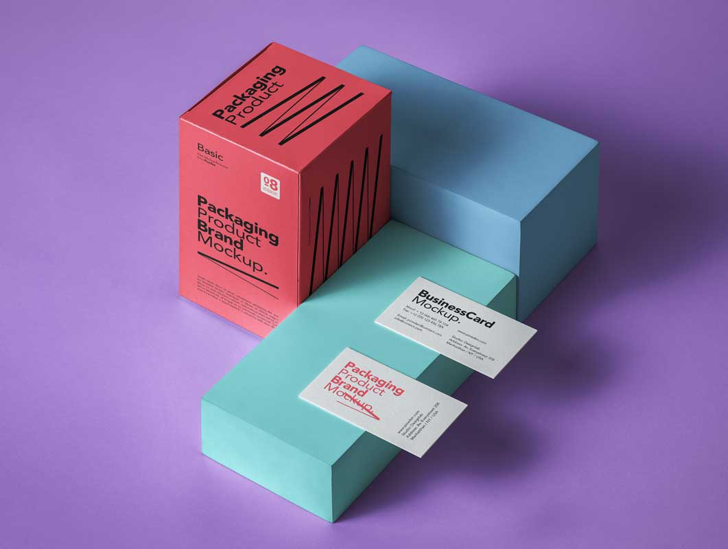 Business Card Box Packaging PSD Mockup