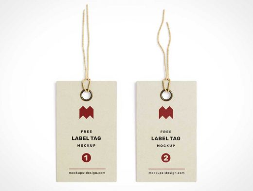 Clothing Store Label Tag Grommet & String PSD Mockup