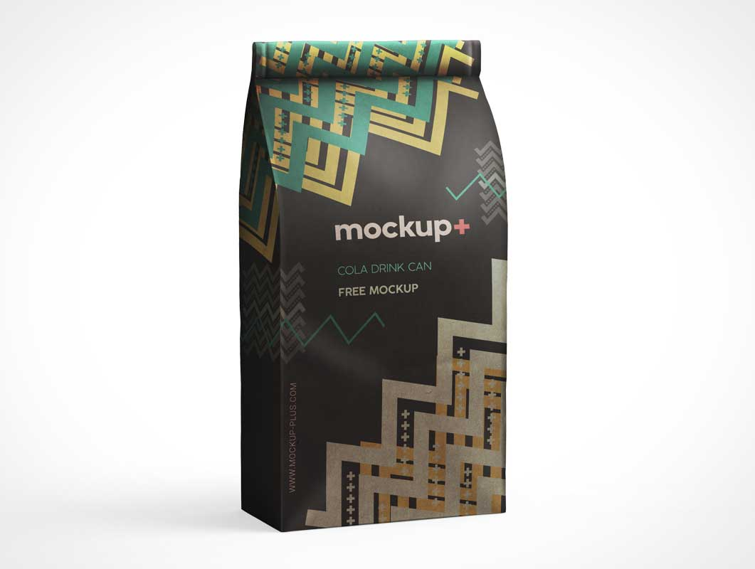 Coffee Grounds Sealed Foil Pouch PSD Mockup