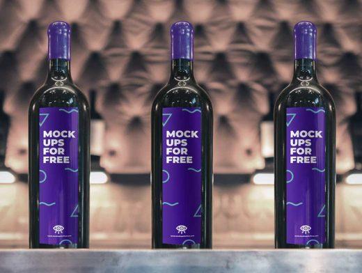 Cork & Wax Sealed Wine Bottle PSD Mockup