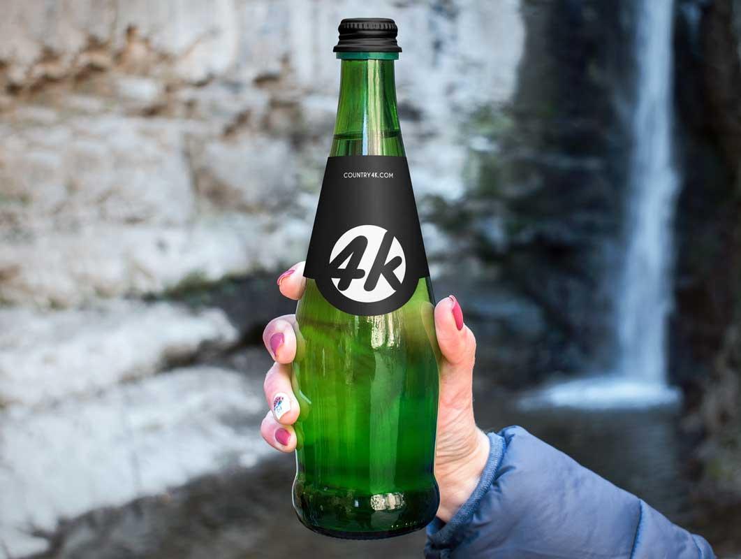 Green Glass Bottle Beverage PSD Mockup