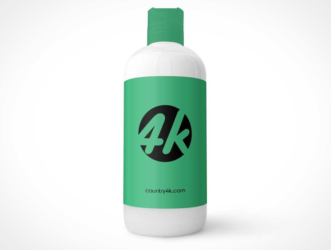HDPE Shampoo Bottle & Disc Cap PSD Mockup