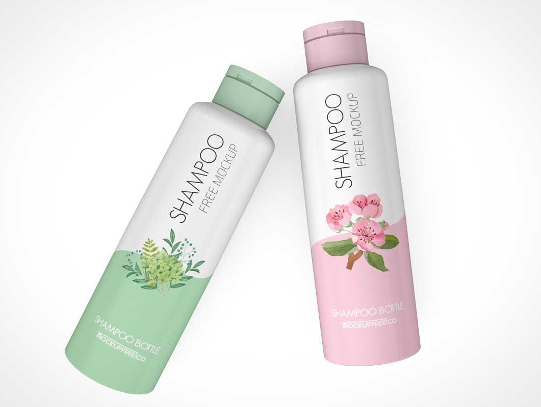 HDPE Shampoo Bottles & Disctop Cap PSD Mockup